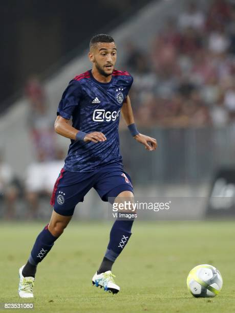 Hakim Ziyech of Ajax during the UEFA Champions League third round qualifying first leg match between OGC Nice and Ajax Amsterdam on July 26 2017 at...