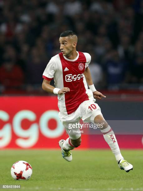 Hakim Ziyech of Ajax during the UEFA Champions League third round qualifying first leg match between Ajax Amsterdam and OGC Nice at the Amsterdam...