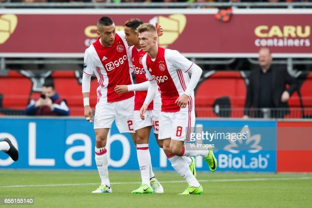 Hakim Ziyech of Ajax Justin Kluivert of Ajax Daley Sinkgraven of Ajaxduring the Dutch Eredivisie match between sbv Excelsior Rotterdam and Ajax...