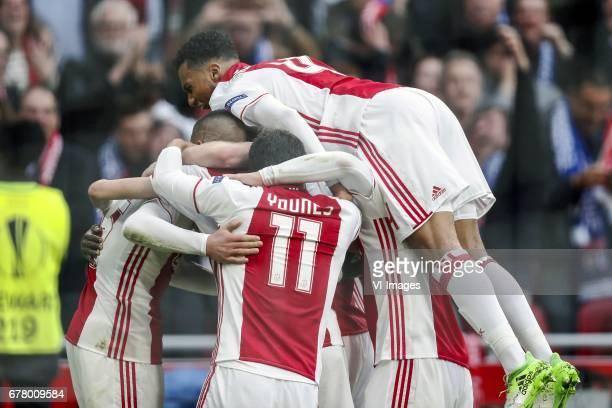 Hakim Ziyech of Ajax Kasper Dolberg of Ajax Amin Younes of Ajax Jairo Riedewald of Ajaxduring the UEFA Europa League semi final match between Ajax...