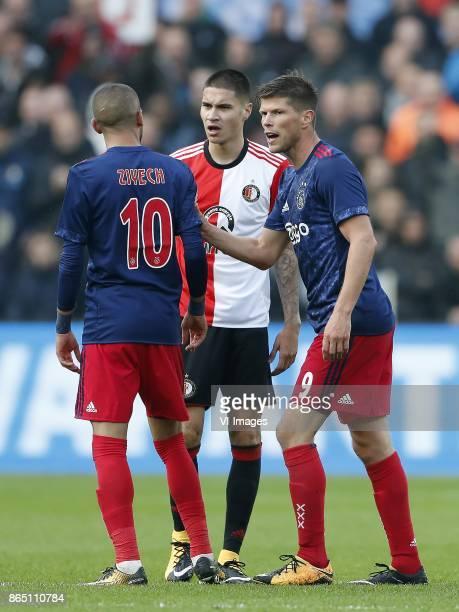 Hakim Ziyech of Ajax Kevin Diks of Feyenoord Klaas Jan Huntelaar of Ajax during the Dutch Eredivisie match between Feyenoord Rotterdam and Ajax...