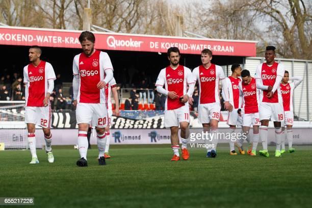 Hakim Ziyech of Ajax Lasse Schone of Ajax Amin Younes of Ajax Matthijs de Ligt of Ajax Kenny Tete of Ajax Abdelhak Nouri of Ajax Mateo Cassierra of...