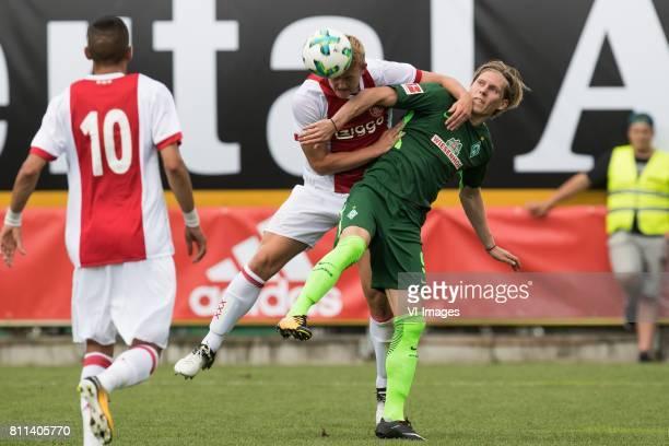 Hakim Ziyech of Ajax Matthijs de Ligt of Ajax Aron Johansson of SV Werder Bremen during the friendly match between Ajax Amsterdam and SV Werder...