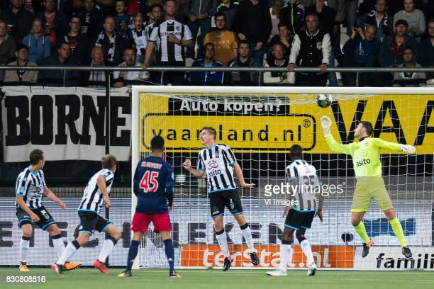 Hakim Ziyech of Ajax scores during the Dutch Eredivisie match between Heracles Almelo and Ajax Amsterdam at Polman stadium on August 12 2017 in...