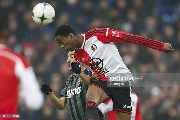 Hakim Ziyech of FC Twente Terence Kongolo of Feyenoord during the Dutch Eredivisie match between Feyenoord and FC Twente at the Kuip on January 18...