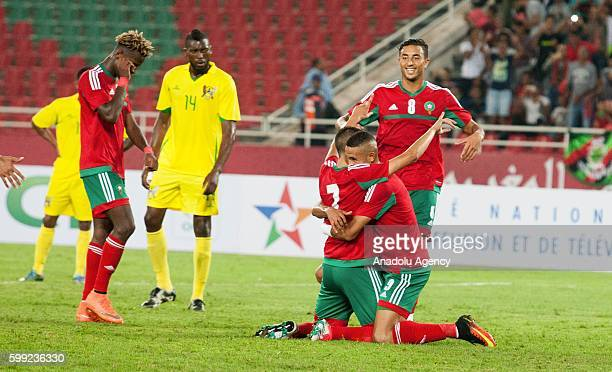 Hakim Ziyech of Morocco celebrates his score during the 2017 African Cup of Nations qualification football match between the national teams of...