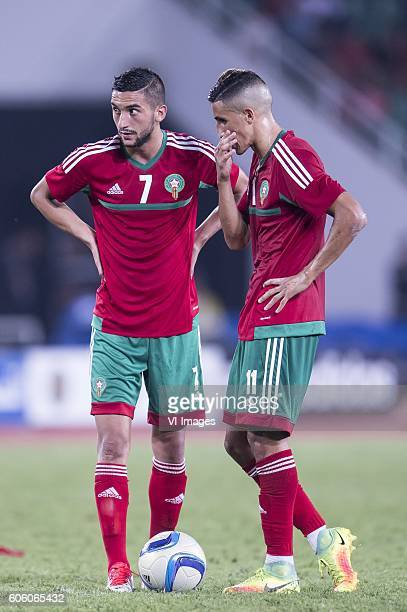 Hakim Ziyech of Morocco Facal Fajr of Morocco during the Africa Cup of Nations match between Morocco and Sao Tome E Principe at September 4 2016 at...