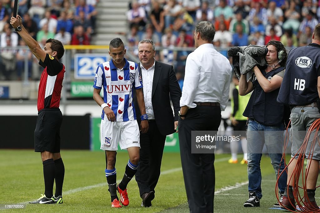 Hakim Ziyech of SC Heerenveen (CL) during the Dutch Eredivisie match between sc Heerenveen and Heracles Almelo on August 18, 2013 at the Abe Lenstra stadium in Heerenveen, The Netherlands.