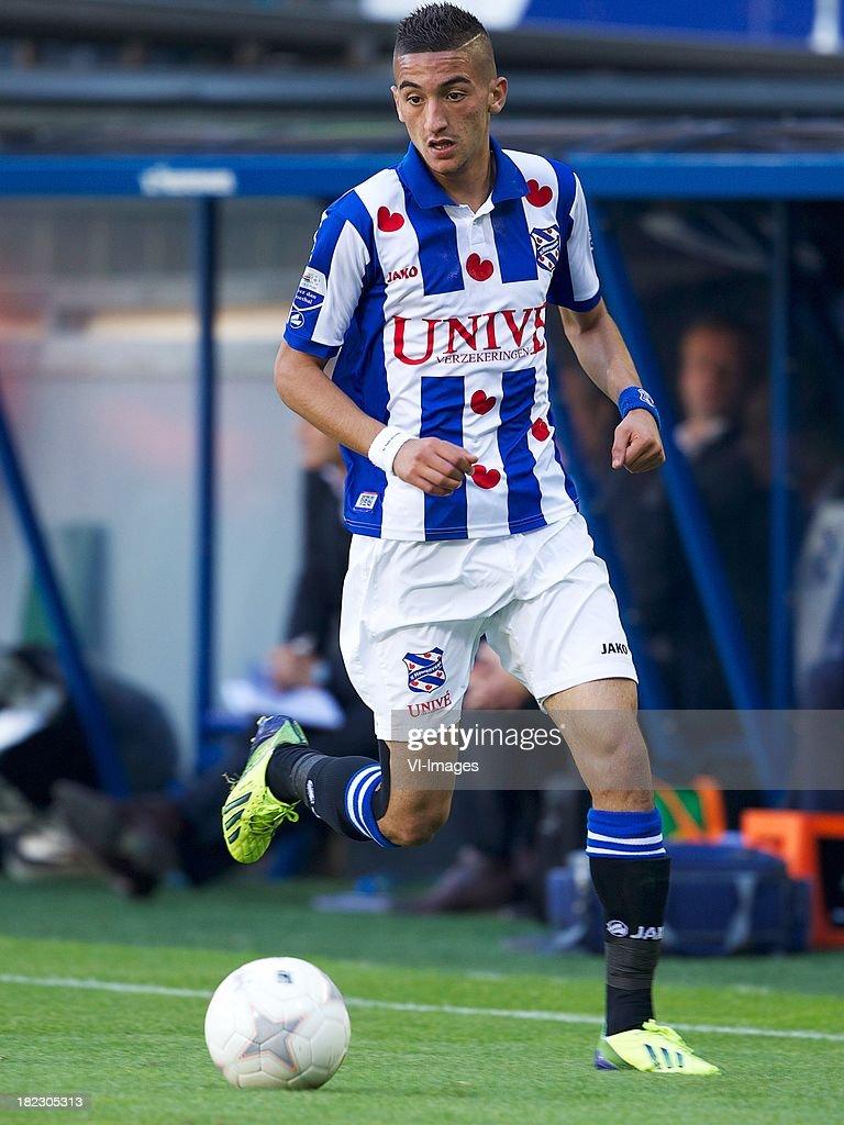 Hakim Ziyech of sc Heerenveen during the Dutch Eredivisie match between sc Heerenveen and SC Cambuur Leeuwarden on September 29, 2013 at the Abe Lenstra stadium in Heerenveen, The Netherlands.