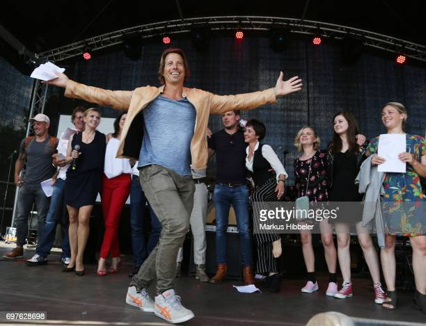 HakimMichael Meziani dances during the celebration of 2500 episodes of 'Rote Rosen' on June 18 2017 in Lueneburg Germany