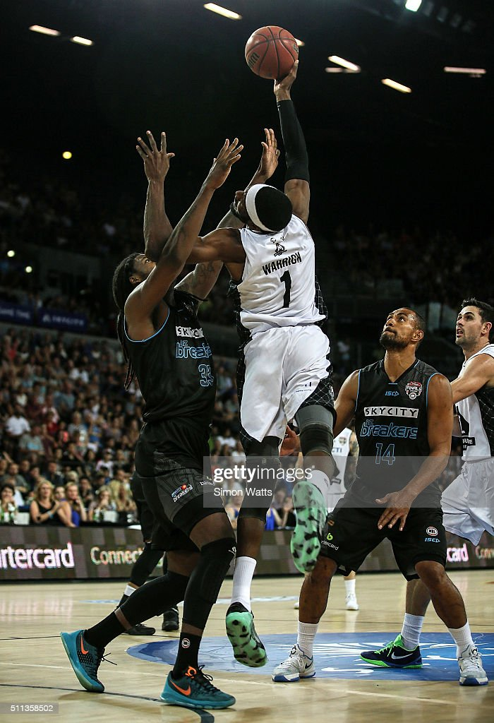 Hakin Warrick of Melbourne shoots during the NBL Semi Final match between the New Zealand Breakers and Melbourne United at Vector Arena on February...