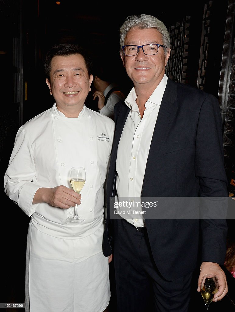 Hakkasan Executive Head Chef Tong Chee Hwee and Executive Vice President of Restaurants Hakkasan Group Didier Souillat attends Le Club des Chefs des Chefs dinner at Hakkasan Hanway Place on July 20, 2014 in London, England.