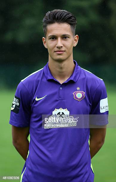 Hakki Yildiz poses during the official team presentation of Erzgebirge Aue at ground 2 on July 14 2015 in Aue Germany