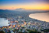 Hakodate, Hokkaido, Japan city skyline from Mt. Hakodate at dawn. T