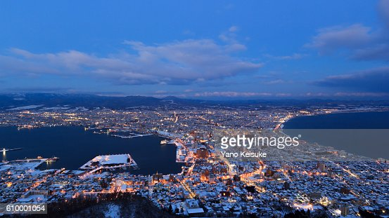 Hakodate with snow : Stock Photo