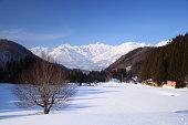 Japan Alps view from Hakuba village Aoni in winter