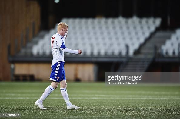 Hakun Edmundsson of Faroe Island leaves the pitch after being shown the red card during the 2017 UEFA European U21 Championships Qualifier between...