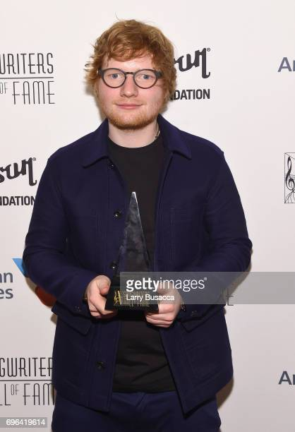 Hal David Starlight Award winner Ed Sheeran poses with award backstage at the Songwriters Hall Of Fame 48th Annual Induction and Awards at New York...