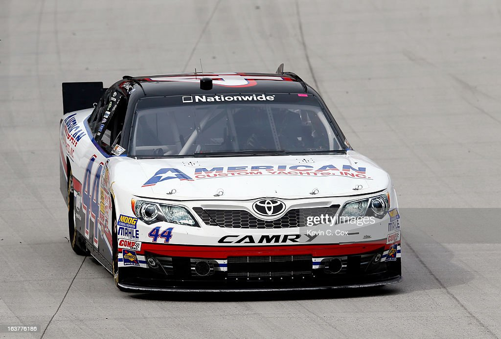 Hal Martin, driver of the #44 American Custom Yachts Toyota, drives on track during practice for the NASCAR Nationwide Series Jeff Foxworthy's Grit Chips 300 at Bristol Motor Speedway on March 15, 2013 in Bristol, Tennessee.
