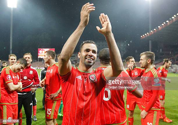Hal RobsonKanu celebrates after the Euro 2016 qualifying football match between Bosnia and Herzegovina and Wales at the Stadium Bilino Polje in...