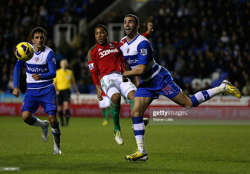 Hal Robson-Kanu of Reading head the ball clear during the Barclays Premier League match between Reading and Swansea City at Madejski Stadium on December 26, 2012 in Reading, England.