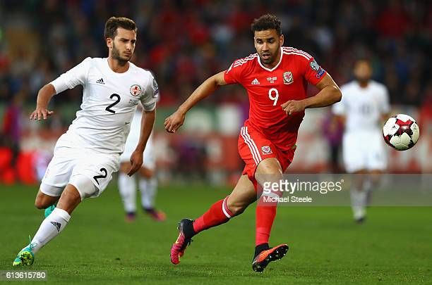 Hal RobsonKanu of Wales is closed down by Otar Kakabadze of Georgia during the FIFA 2018 World Cup Qualifier Group D match between Wales and Georgia...