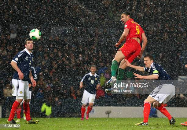 Hal RobsonKanu of Wales scores the second goal for Wales during the FIFA 2014 World Cup Group A qualifying match between Scotland and Wales at...