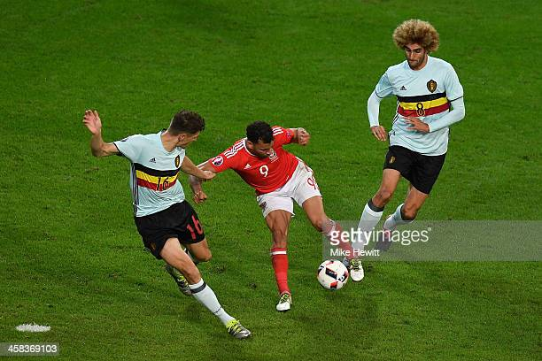 Hal RobsonKanu of Wales turns Thomas Meunier and Marouane Fellaini of Belgium inside out as he scores his team'a 2nd goal during the UEFA EURO 2016...