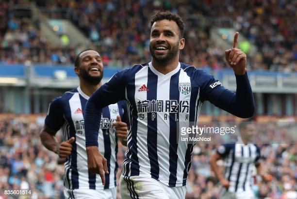 Hal RobsonKanu of West Bromwich Albion celebrates after he scores during the Premier League match between Burnley and West Bromwich Albion at Turf...