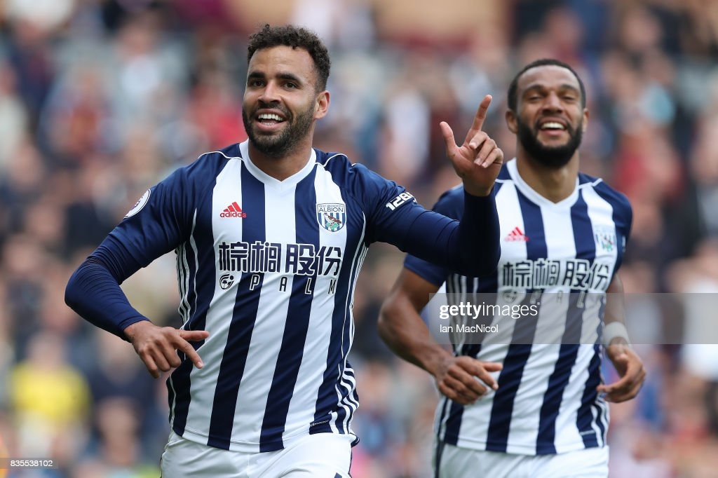 Hal Robson-Kanu of West Bromwich Albion celebrates after he scores the only goal of the game during the Premier League match between Burnley and West Bromwich Albion at Turf Moor on August 19, 2017 in Burnley, England.