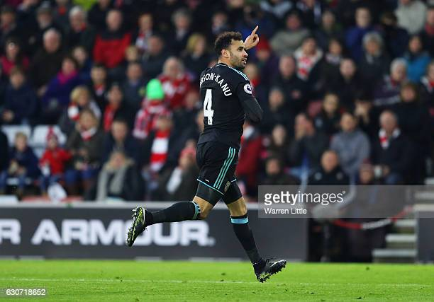 Hal RobsonKanu of West Bromwich Albion celebrates scoring his side's second goal during the Premier League match between Southampton and West...