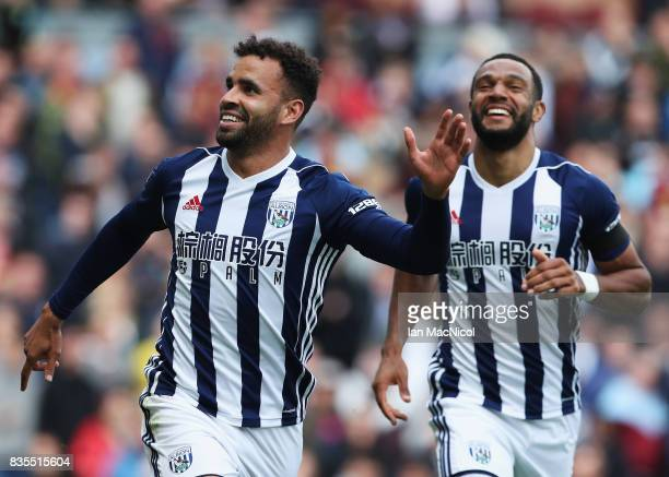 Hal RobsonKanu of West Bromwich Albion celebrates scoring his sides first goal with Matt Phillips of West Bromwich Albion during the Premier League...