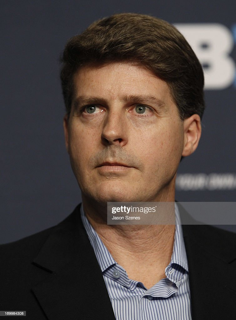Hal Steinbrenner, Managing General Partner of the New York Yankees is seen during a press conference to announce the New Era Pinstripe Bowl's eight-year partnership with the Big Ten Conference at Yankees Stadium on June 3, 2013 in the Bronx borough of New York City.