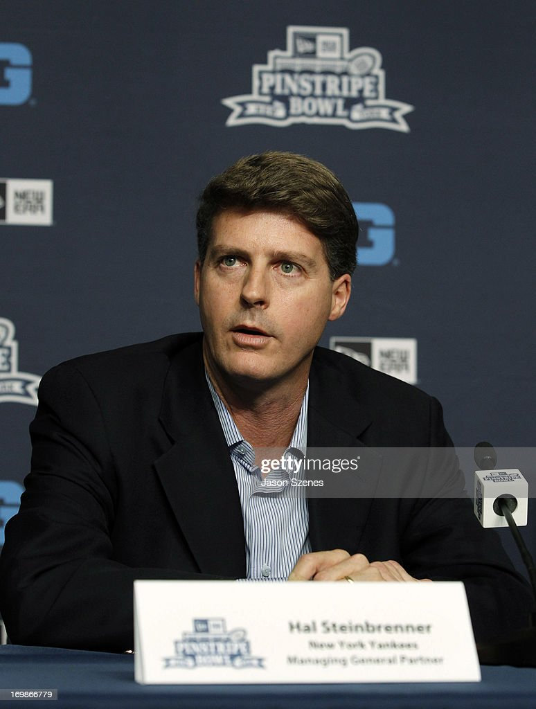Hal Steinbrenner, Managing General Partner of the New York Yankees addresses the media during a press conference to announce the New Era Pinstripe Bowl's eight-year partnership with the Big Ten Conference at Yankees Stadium on June 3, 2013 in the Bronx borough of New York City. (Photo by Jason Szenes/Getty Images