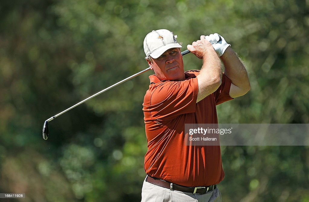 Hal Sutton hits a shot during the second round of the Insperity Championship at the Woodlands Country Club on May 4, 2013 in Woodlands, Texas.