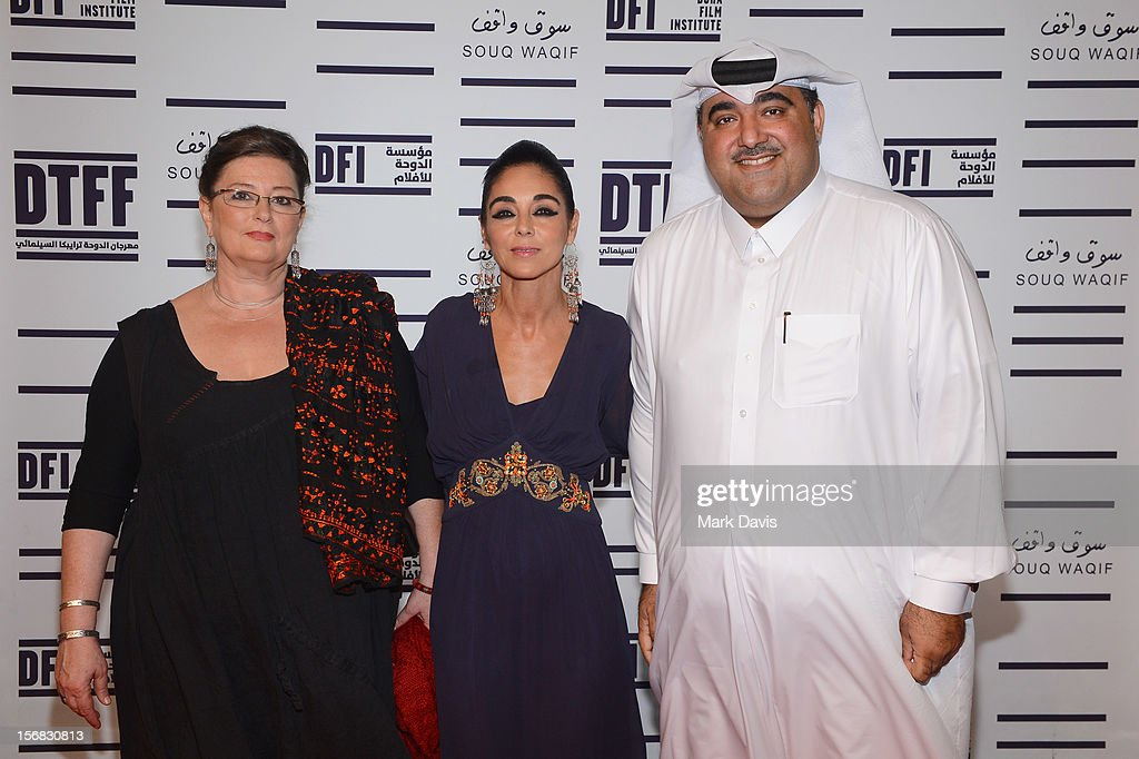 Hala Al Abdalla, <a gi-track='captionPersonalityLinkClicked' href=/galleries/search?phrase=Shirin+Neshat&family=editorial&specificpeople=3200877 ng-click='$event.stopPropagation()'>Shirin Neshat</a> and Hafiz Ali Ali attend the Awards Ceremony at the Al Rayyan Theatre during the 2012 Doha Tribeca Film Festival on November 22, 2012 in Doha, Qatar.