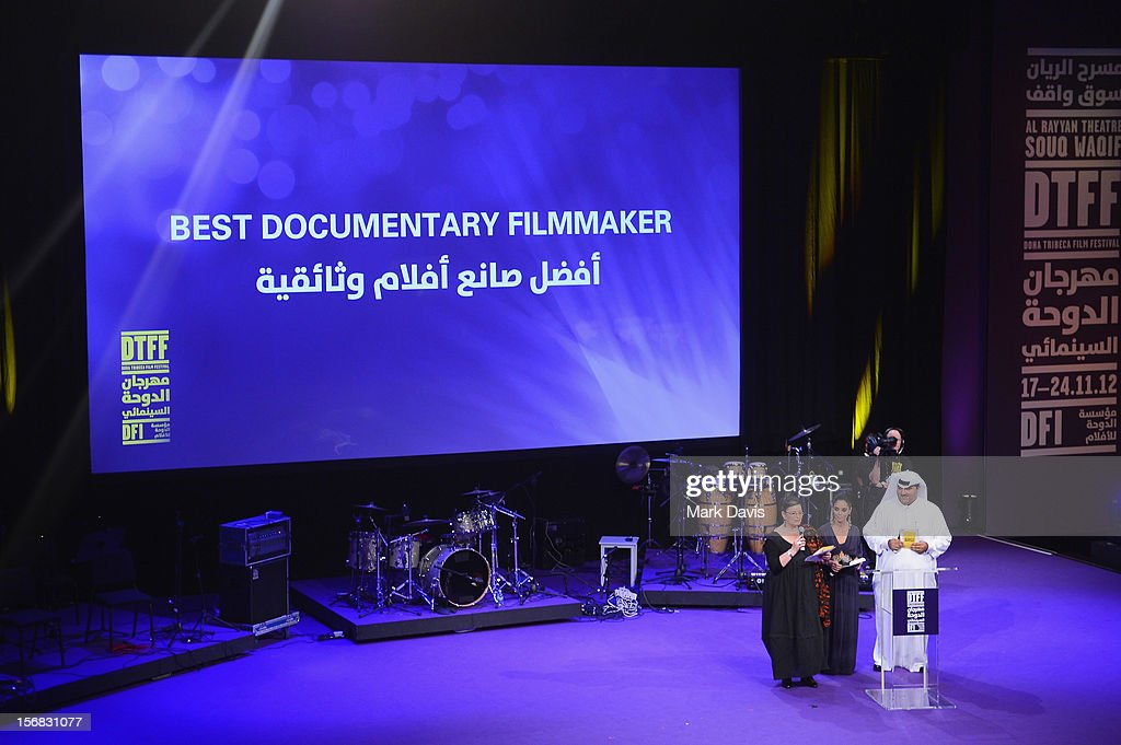 Hala Al Abdalla, Shirin Neshat and Hafiz Ali Ali attend the Awards Ceremony at the Al Rayyan Theatre during the 2012 Doha Tribeca Film Festival on November 22, 2012 in Doha, Qatar.