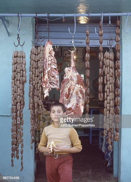 A halal butcher's shop in Beirut Lebanon 1979