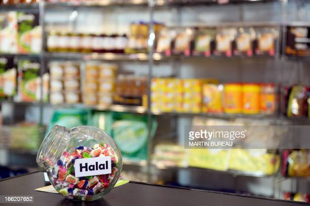 Halal candies are displayed on April 10 2013 at the MDD Expo of major supermarket chain brands in Paris The fair presents food made and sold under...