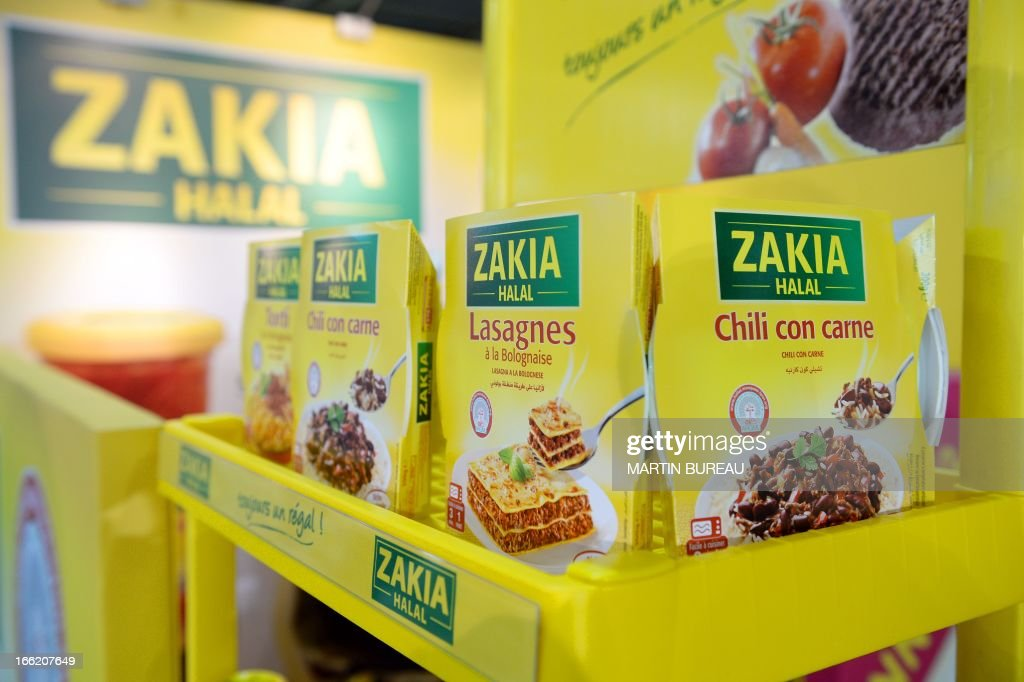 Halal food mixes are displayed on April 10, 2013 at the MDD Expo (distributor brands expo) of major supermarket chain brands in Paris. The fair presents food made and sold under the names of major supermarket outlets, such as Casino, Carrefour, Cora, Monoprix or Super U.