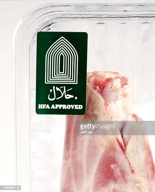 Halal label on meat packaging