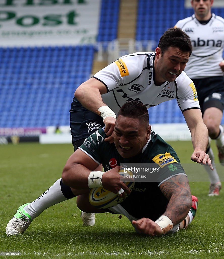 Halani Aulika of London Irish goes over for atry during the Aviva Premiership match between London Irish and Sales Sharks at the Madejski Stadium on March 31, 2013 in Reading, England.
