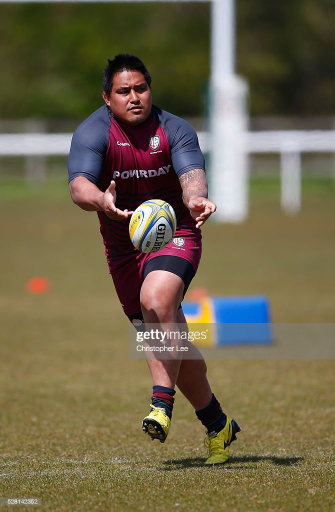 Halani Aulika of London Irish in action during the London Irish Media Session at Hazelwood Centre on May 4, 2016 in Sunbury, England.