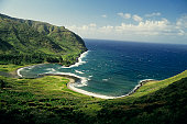 Halawa Bay, Molokai, Hawaii, USA, elevated view