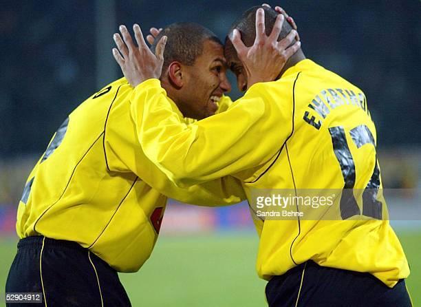 POKAL 01/02 Halbfinale Dortmund BORUSSIA DORTMUND AC MAILAND JUBEL Marcio AMOROSO und EWERTHON/DORTMUND nach dem TOR zum 40
