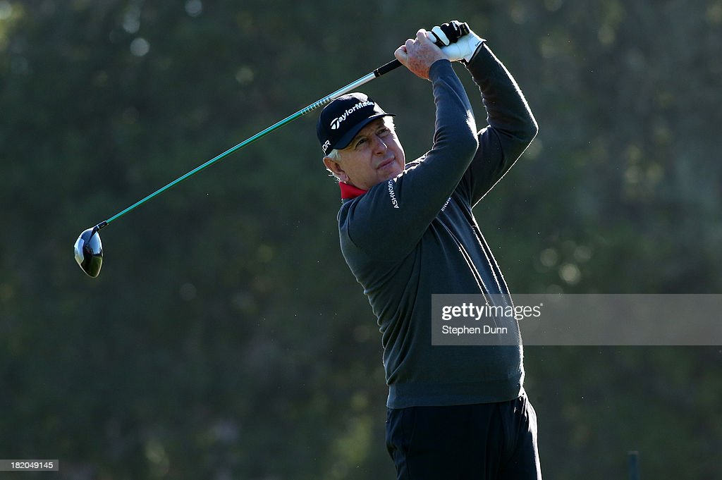 <a gi-track='captionPersonalityLinkClicked' href=/galleries/search?phrase=Hale+Irwin&family=editorial&specificpeople=239520 ng-click='$event.stopPropagation()'>Hale Irwin</a> hits his tee shot on the 17th hole durng the first round of the Nature Valley First Tee Open at Pebble Beach at Del Monte Golf Club on September 27, 2013 in Pebble Beach, California.