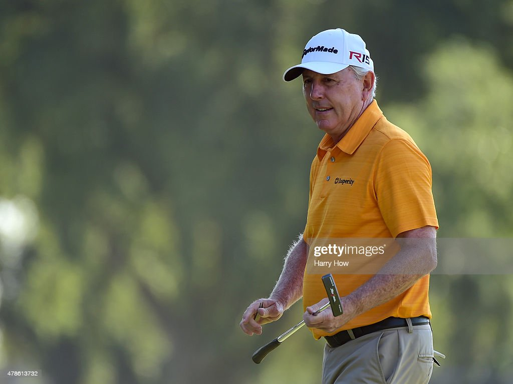 Hale Irwin of the United States after his birdie on the 10th green during round one of the U.S. Senior Open Championship at the Del Paso Country Club on June 25, 2015 in Sacramento, California.