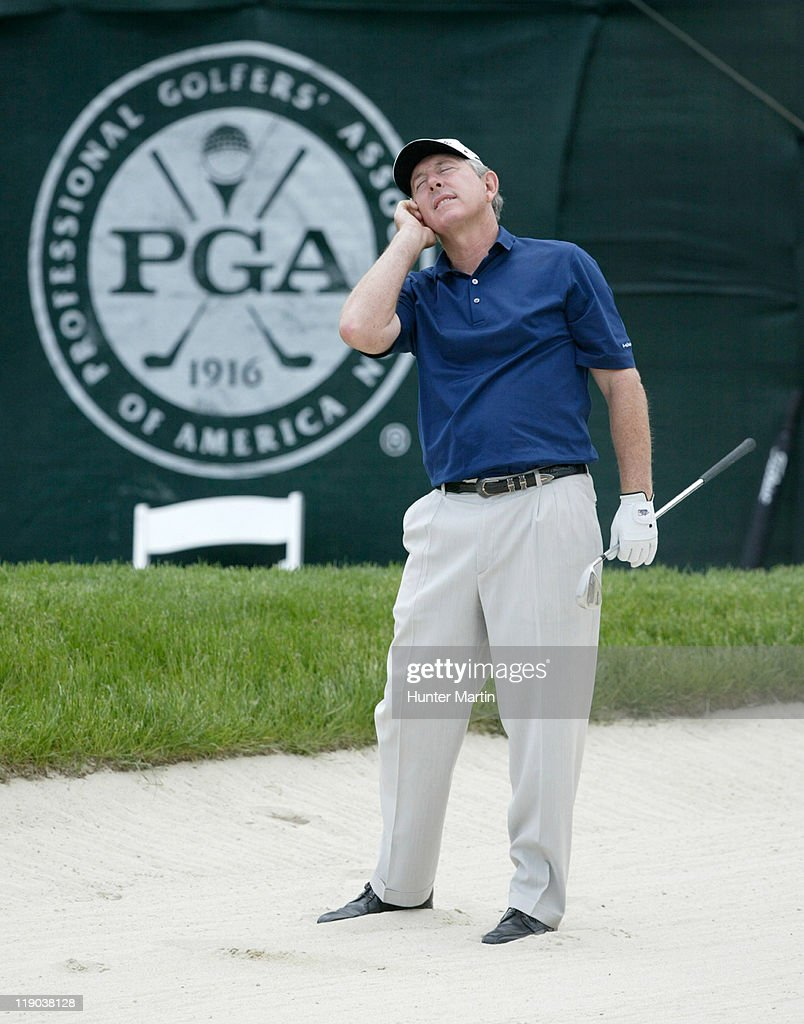 <a gi-track='captionPersonalityLinkClicked' href=/galleries/search?phrase=Hale+Irwin&family=editorial&specificpeople=239520 ng-click='$event.stopPropagation()'>Hale Irwin</a> reacts after hitting out of the bunker on the 18th hole during the second round of The 66th Senior PGA Championship at Laurel Valley CC, Ligonier, Pa. , May 27th, 2005