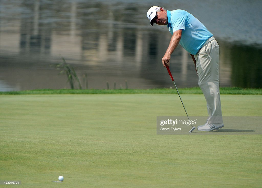 <a gi-track='captionPersonalityLinkClicked' href=/galleries/search?phrase=Hale+Irwin&family=editorial&specificpeople=239520 ng-click='$event.stopPropagation()'>Hale Irwin</a> reacts to missing a putt on the ninth hole during the second round of the 3M Championship at TPC Twin Cities on August 2, 2014 in Blaine, Minnesota.