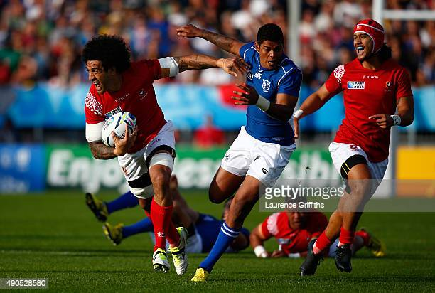 Hale T Pole of Tonga runs at the Namibian defence during the 2015 Rugby World Cup Pool C match between Tonga and Namibia at Sandy Park on September...